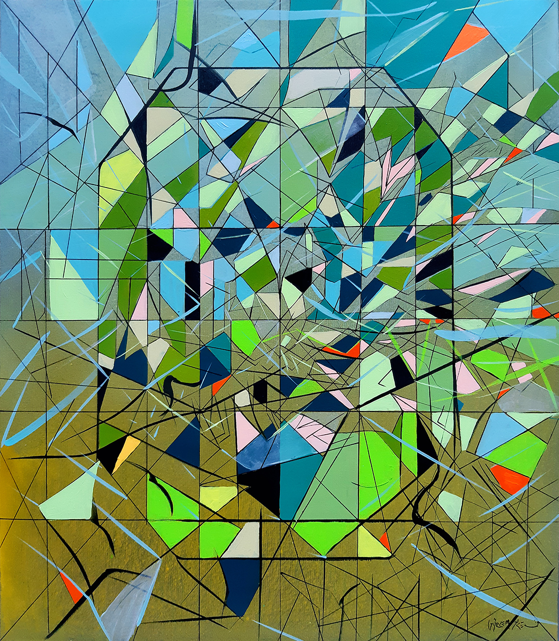 contemporary-painting-of-an-abstract-emerald-form